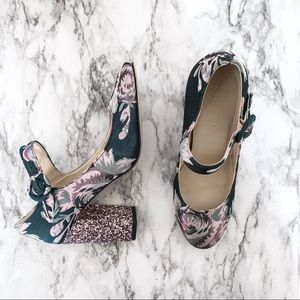 Marc Fisher glitter floral chunky heel